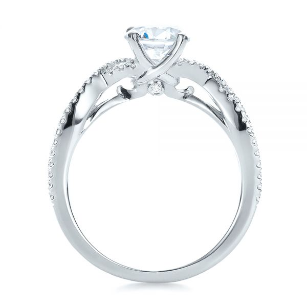 14k White Gold Contemporary Criss-cross Diamond Engagement Ring - Front View -  100403