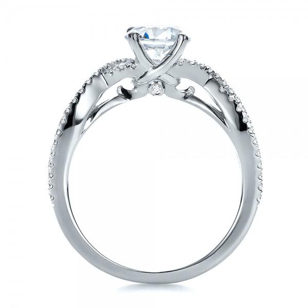 Contemporary Criss-Cross Diamond Engagement Ring - Finger Through View