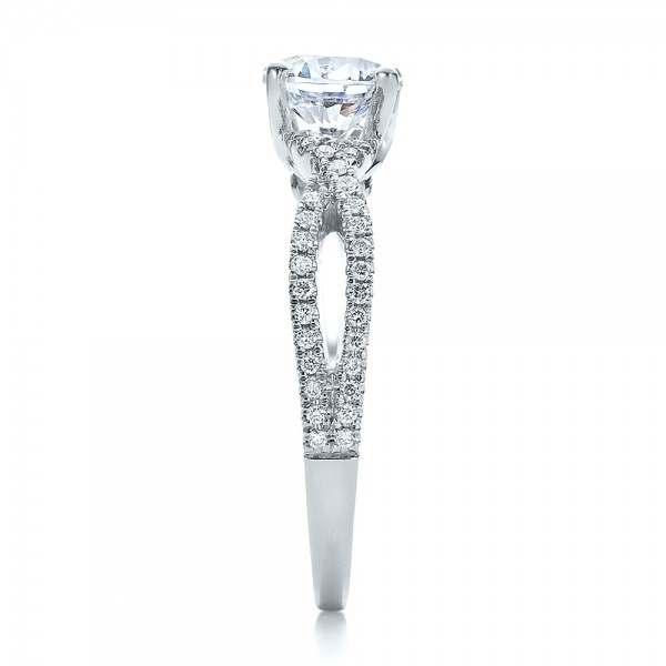 Contemporary Criss-Cross Diamond Engagement Ring - Side View