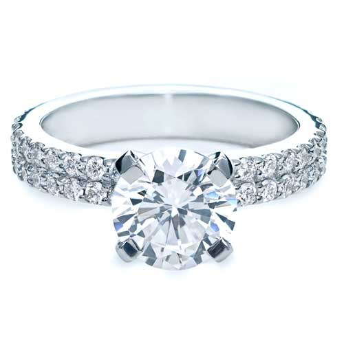 Contemporary Diamond Engagement Ring - Flat View -  168 - Thumbnail