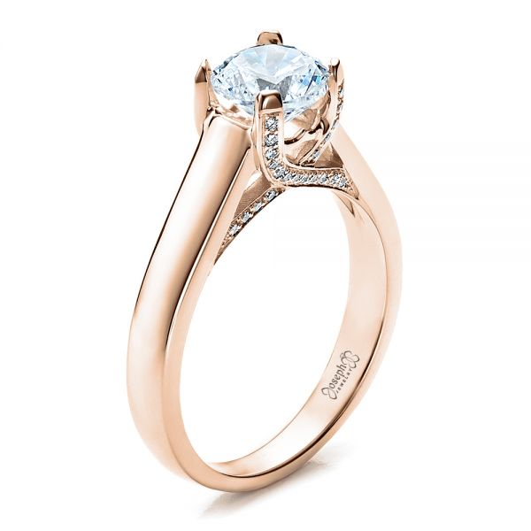 Contemporary Engagement Ring with Bright Cut Set Diamonds - Image