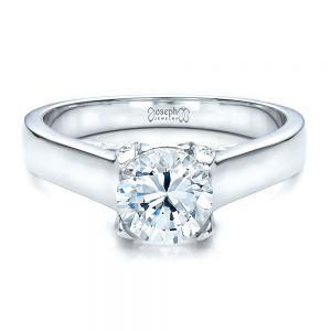 Contemporary Engagement Ring with Bright Cut Set Diamonds