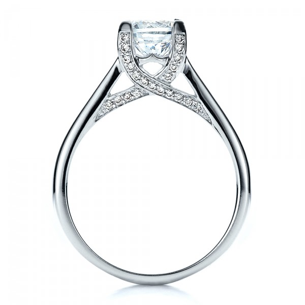 Contemporary Engagement Ring with Bright Cut Set Diamonds - Finger Through View