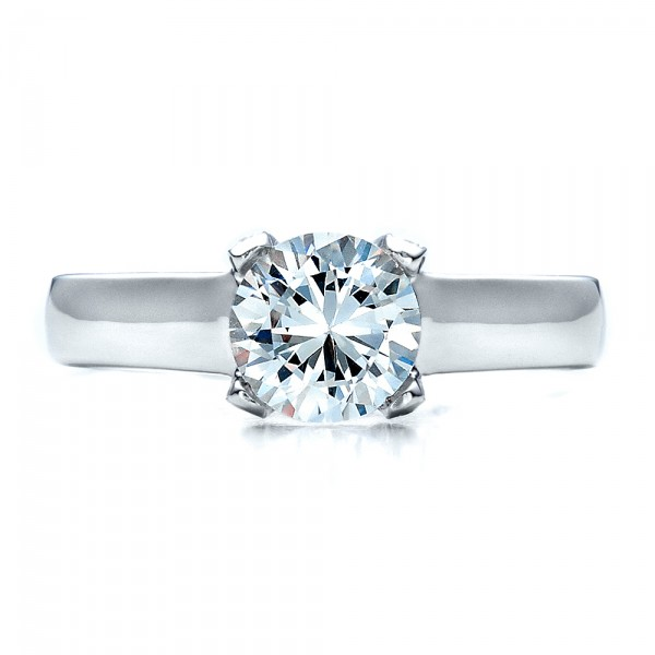 Contemporary Engagement Ring with Bright Cut Set Diamonds - Top View
