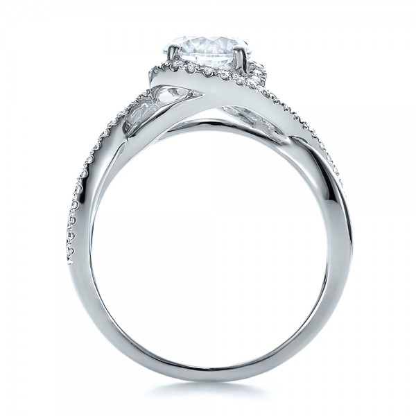 Contemporary Halo and Split Shank Diamond Engagement Ring - Finger Through View