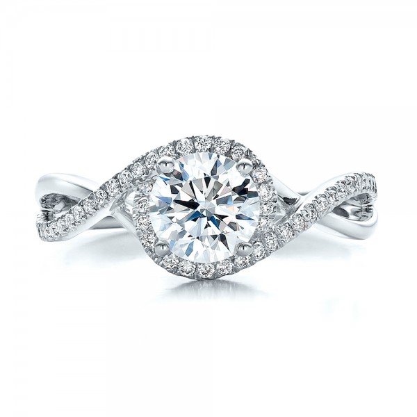 Contemporary Halo and Split Shank Diamond Engagement Ring - Top View