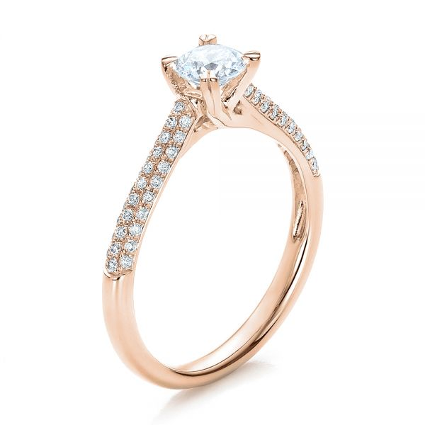 18k Rose Gold 18k Rose Gold Contemporary Pave Set Diamond Engagement Ring - Three-Quarter View -  100395