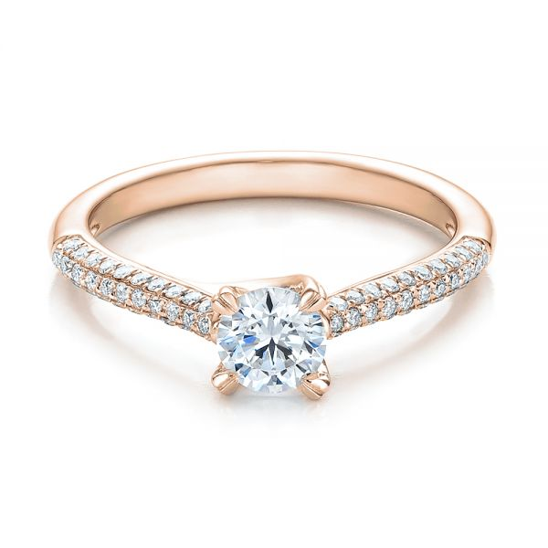 18k Rose Gold 18k Rose Gold Contemporary Pave Set Diamond Engagement Ring - Flat View -  100395