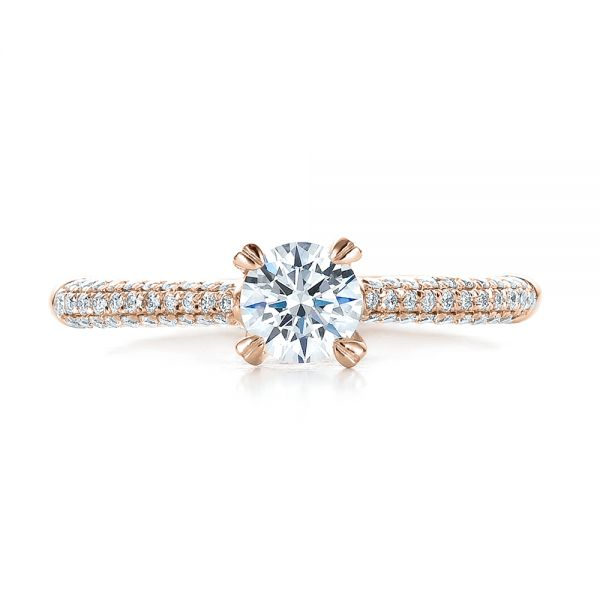 18k Rose Gold 18k Rose Gold Contemporary Pave Set Diamond Engagement Ring - Top View -  100395