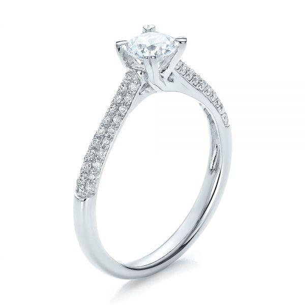 14k White Gold Contemporary Pave Set Diamond Engagement Ring - Three-Quarter View -  100395