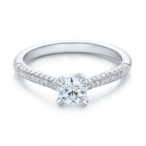 Contemporary Pave Set Diamond Engagement Ring