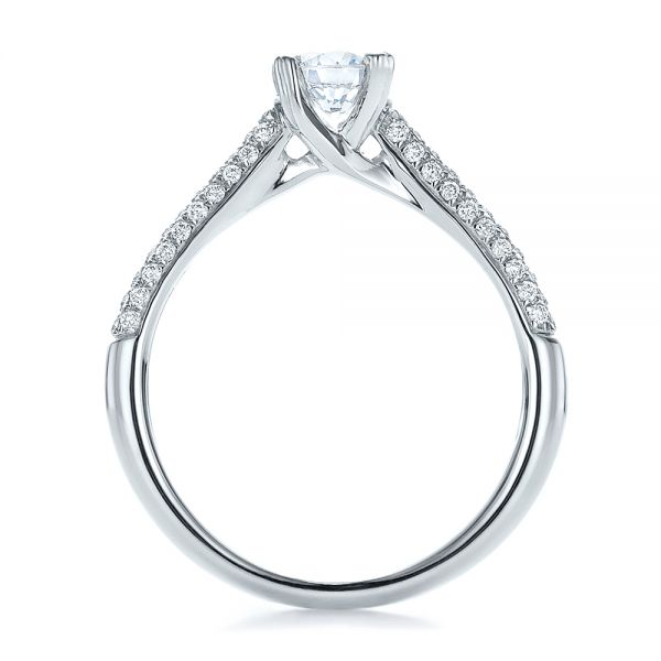 14k White Gold Contemporary Pave Set Diamond Engagement Ring - Front View -  100395