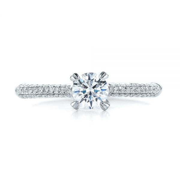 14k White Gold Contemporary Pave Set Diamond Engagement Ring - Top View -  100395