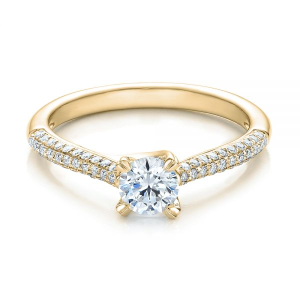 14k Yellow Gold 14k Yellow Gold Contemporary Pave Set Diamond Engagement Ring - Flat View -  100395