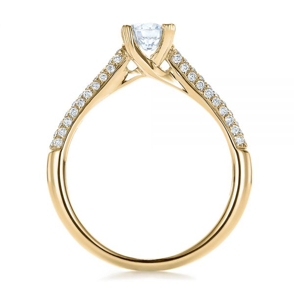 14k Yellow Gold 14k Yellow Gold Contemporary Pave Set Diamond Engagement Ring - Front View -  100395