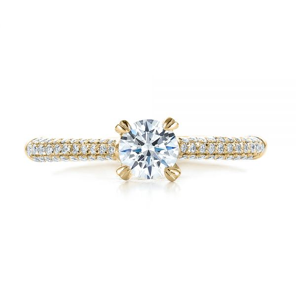 14k Yellow Gold 14k Yellow Gold Contemporary Pave Set Diamond Engagement Ring - Top View -  100395