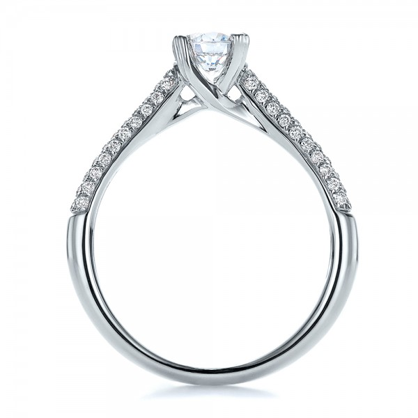 Contemporary Pave Set Diamond Engagement Ring - Finger Through View