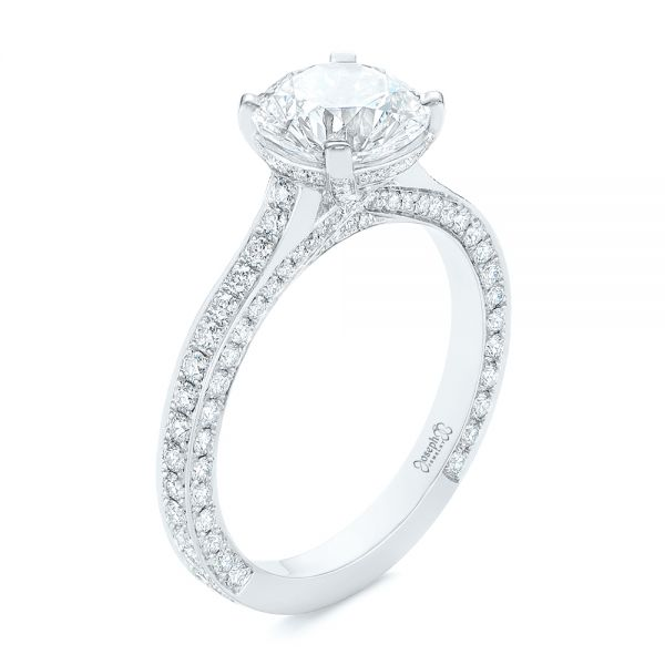 Contemporary Round Diamond Engagement Ring - Image