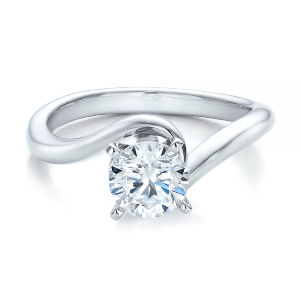 14k White Gold Contemporary Solitaire Engagement Ring - Flat View -