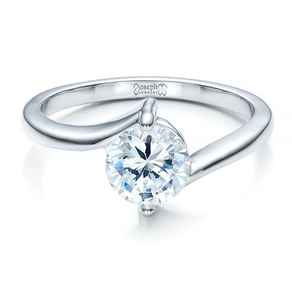 Contemporary Solitaire Engagement Ring - Flat View -  1484 - Thumbnail