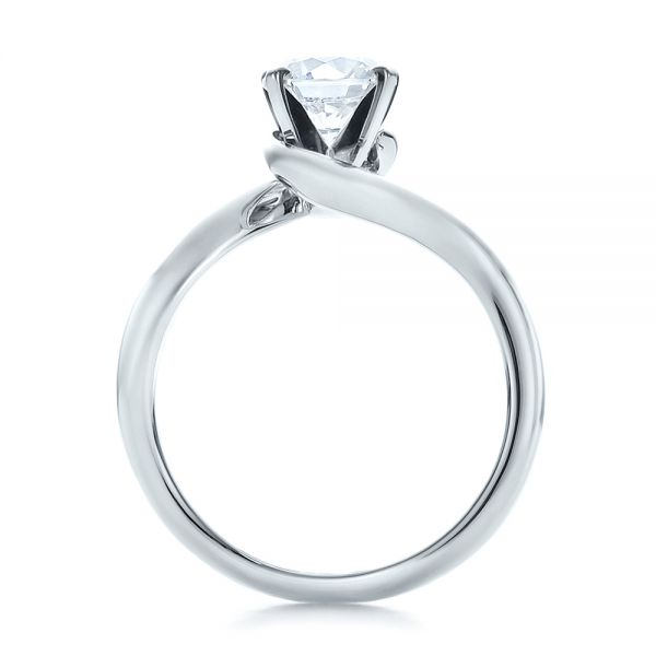 14k White Gold Contemporary Solitaire Engagement Ring - Front View -