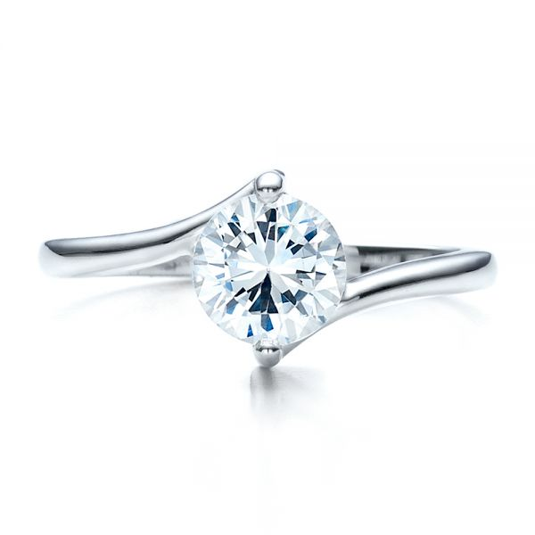 Contemporary Solitaire Engagement Ring - Top View -  1484 - Thumbnail