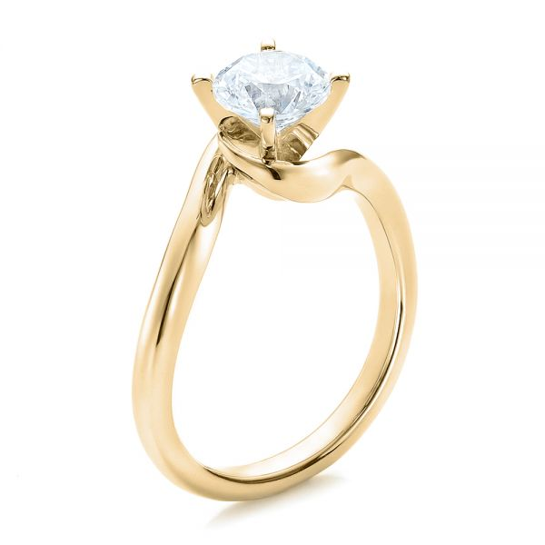 18k Yellow Gold 18k Yellow Gold Contemporary Solitaire Engagement Ring - Three-Quarter View -