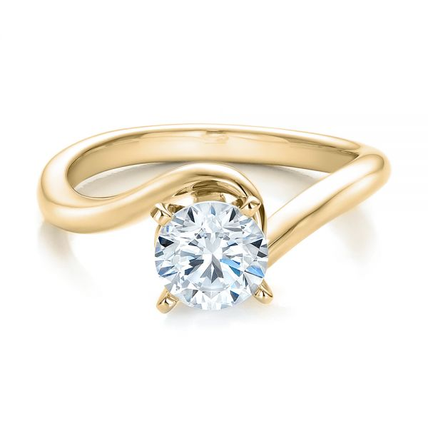 18k Yellow Gold 18k Yellow Gold Contemporary Solitaire Engagement Ring - Flat View -