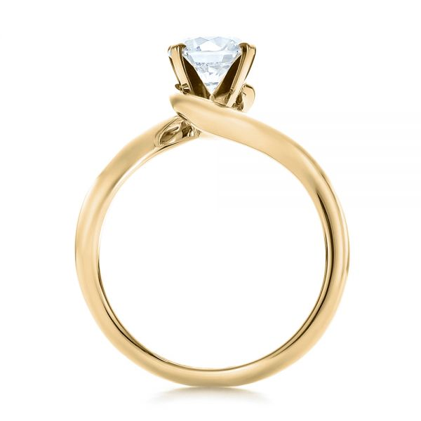 18k Yellow Gold 18k Yellow Gold Contemporary Solitaire Engagement Ring - Front View -