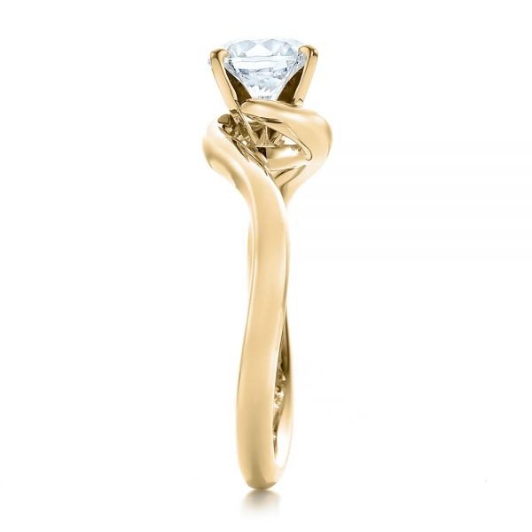 18k Yellow Gold 18k Yellow Gold Contemporary Solitaire Engagement Ring - Side View -