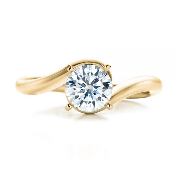 18k Yellow Gold 18k Yellow Gold Contemporary Solitaire Engagement Ring - Top View -