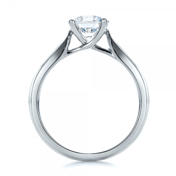 Contemporary Solitaire Engagement Ring - Front View -  100397 - Thumbnail