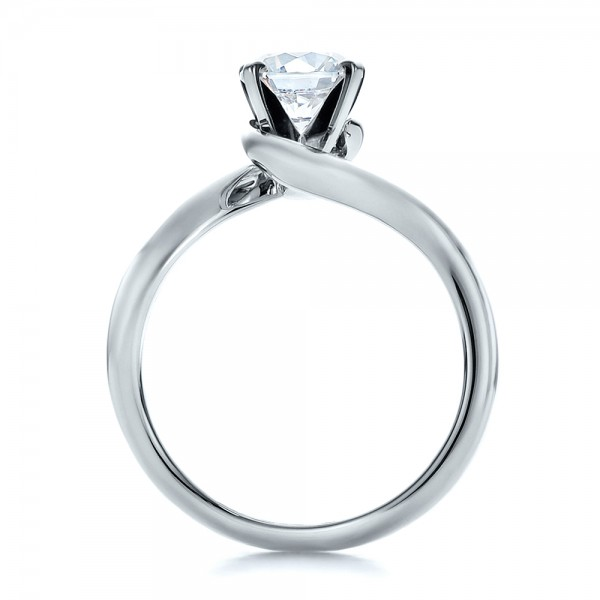 Contemporary Solitaire Engagement Ring - Front View -  100400 - Thumbnail