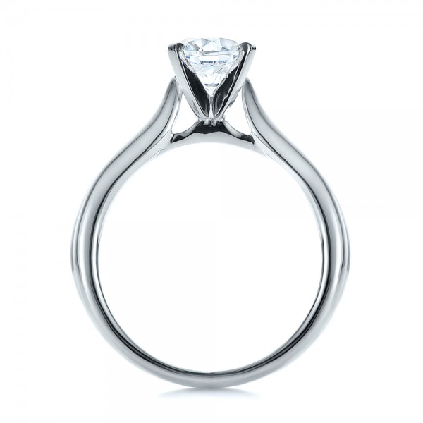 Contemporary Solitaire Engagement Ring - Finger Through View