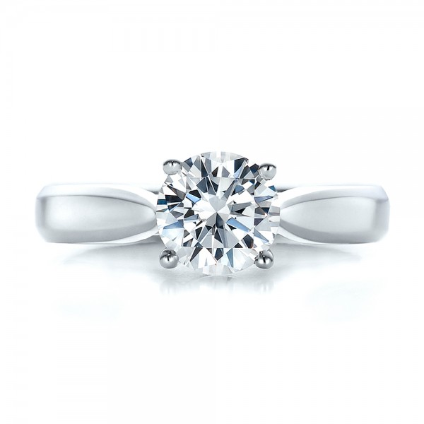 Contemporary Solitaire Engagement Ring - Top View -  100397 - Thumbnail
