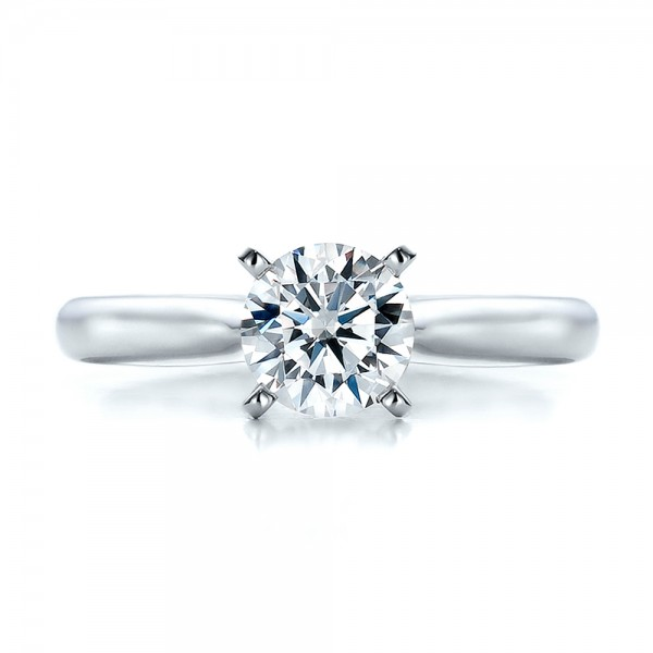 Contemporary Solitaire Engagement Ring - Top View