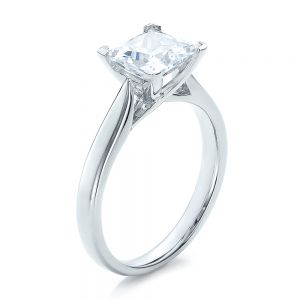 Contemporary Solitaire Princess Cut Diamond Engagement Ring - Image