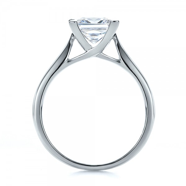 Contemporary Solitaire Princess Cut Diamond Engagement Ring - Finger Through View