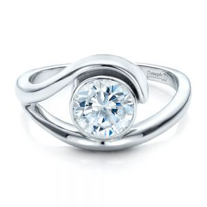 Contemporary Split Shank Solitaire Engagement Ring