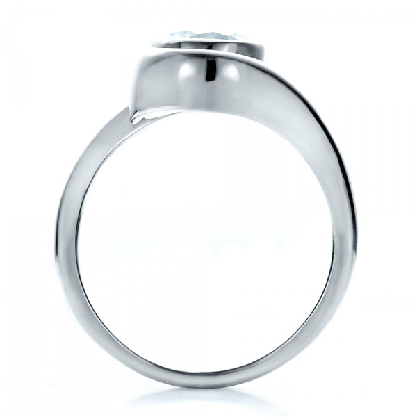 Contemporary Split Shank Solitaire Engagement Ring - Finger Through View