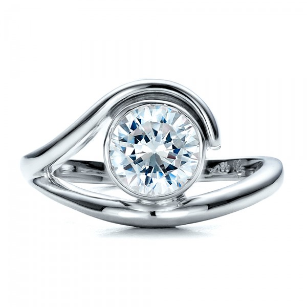 Contemporary Split Shank Solitaire Engagement Ring - Top View