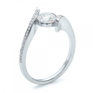 Contemporary Tension Set Pave Diamond Engagement Ring