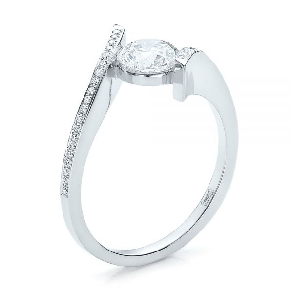 Contemporary Tension Set Pave Diamond Engagement Ring - Image