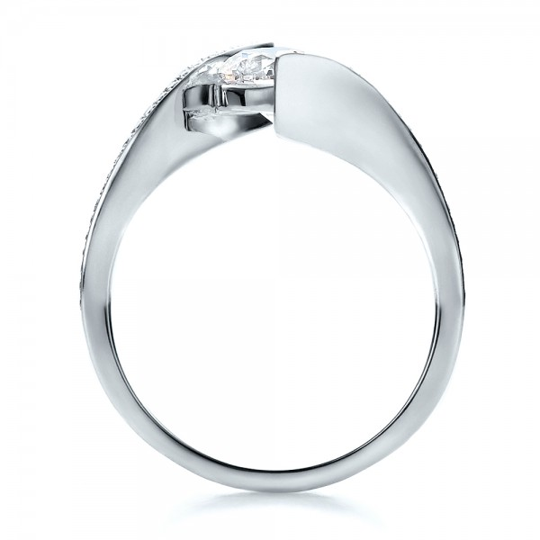 Contemporary Tension Set Pave Diamond Engagement Ring - Finger Through View