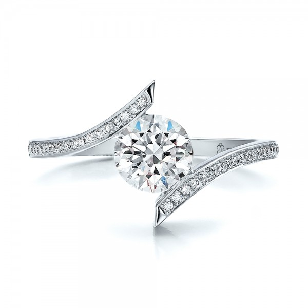Contemporary Tension Set Pave Diamond Engagement Ring - Top View