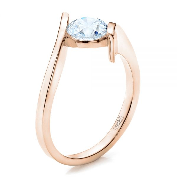 Contemporary Tension Set Solitaire Engagement Ring - Image