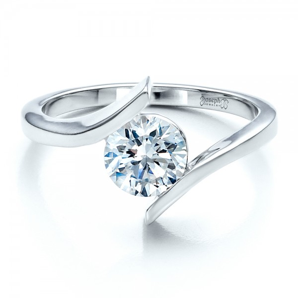 Contemporary Tension Set Solitaire Engagement Ring