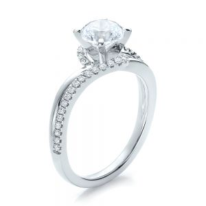 Contemporary Wrapped Split Shank Diamond Engagement Ring - Image