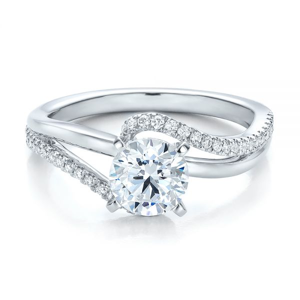 14k White Gold Contemporary Wrapped Split Shank Diamond Engagement Ring - Flat View -