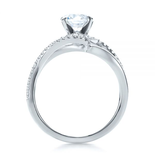 14k White Gold Contemporary Wrapped Split Shank Diamond Engagement Ring - Front View -  100402